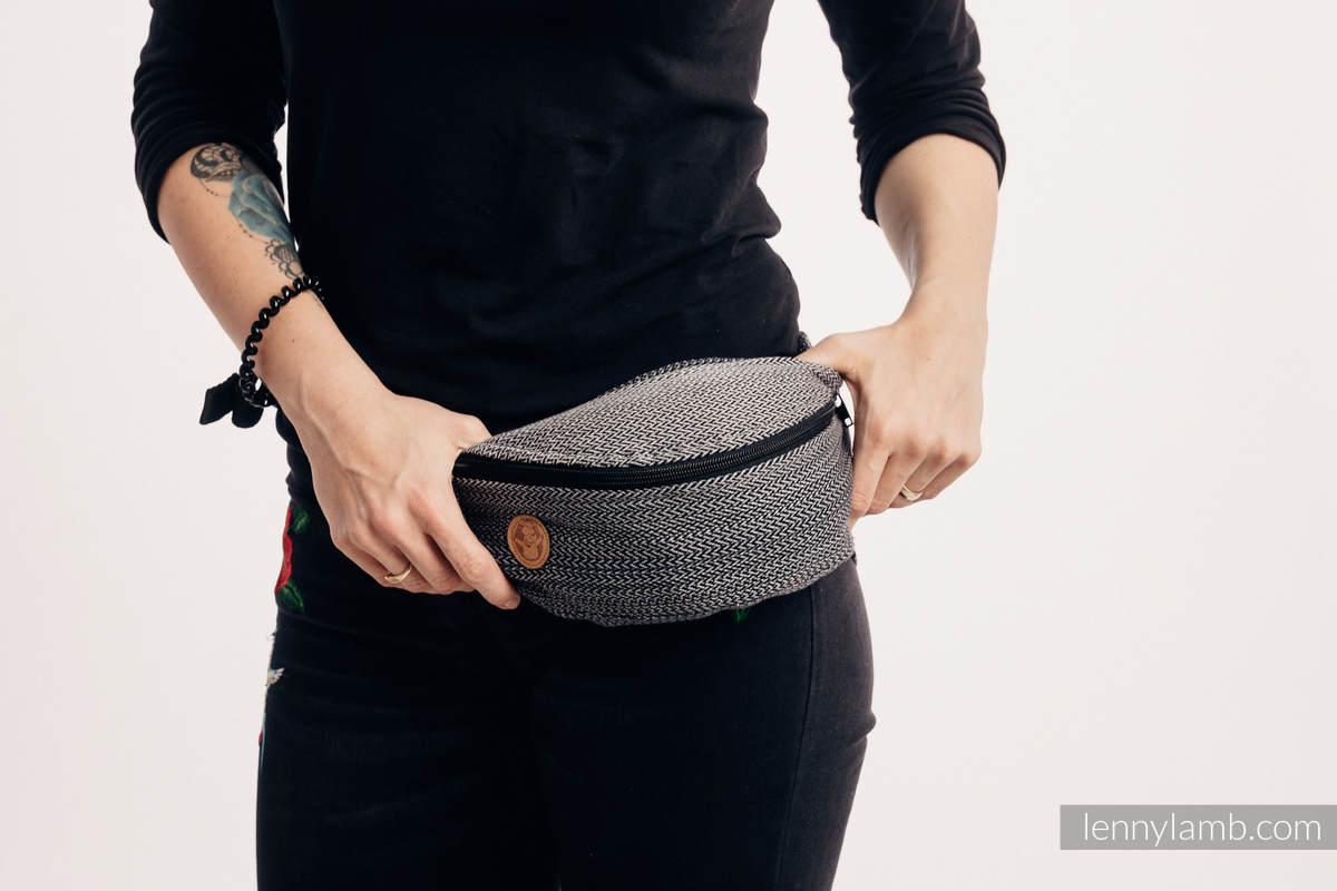 Waist Bag made of woven fabric, (100% cotton) - LITTLE HERRINGBONE OMBRE GREY  #babywearing