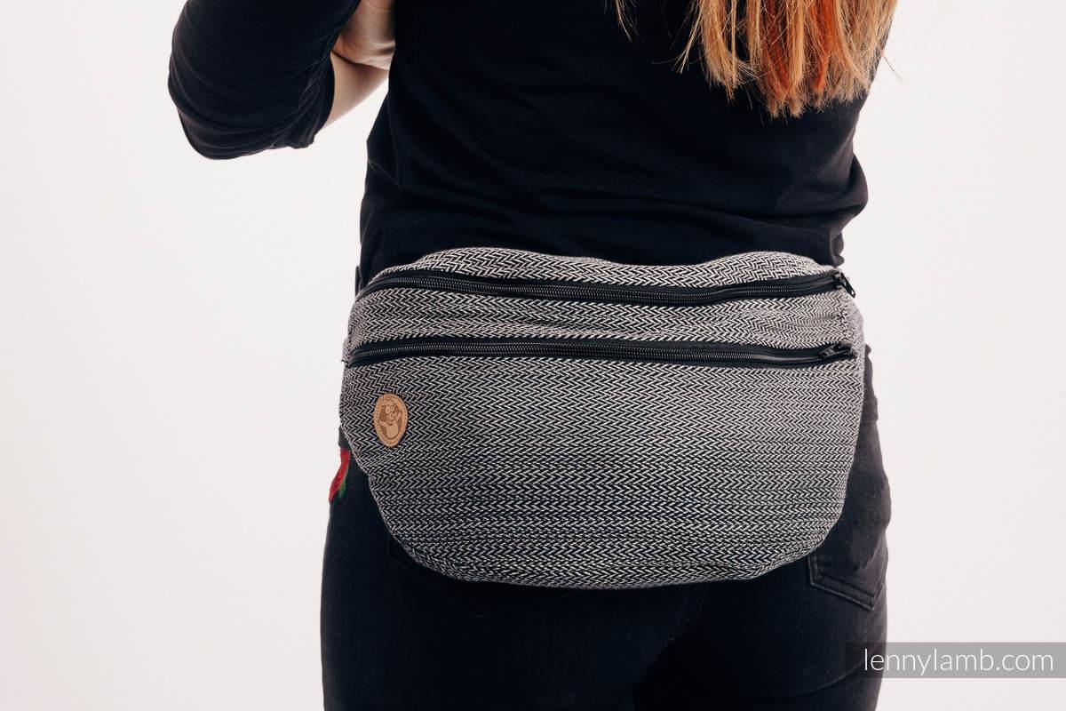 Gürteltasche, hergestellt vom gewebten Stoff, Große Größen  (100% Baumwolle) - LITTLE HERRINGBONE OMBRE GREY  #babywearing