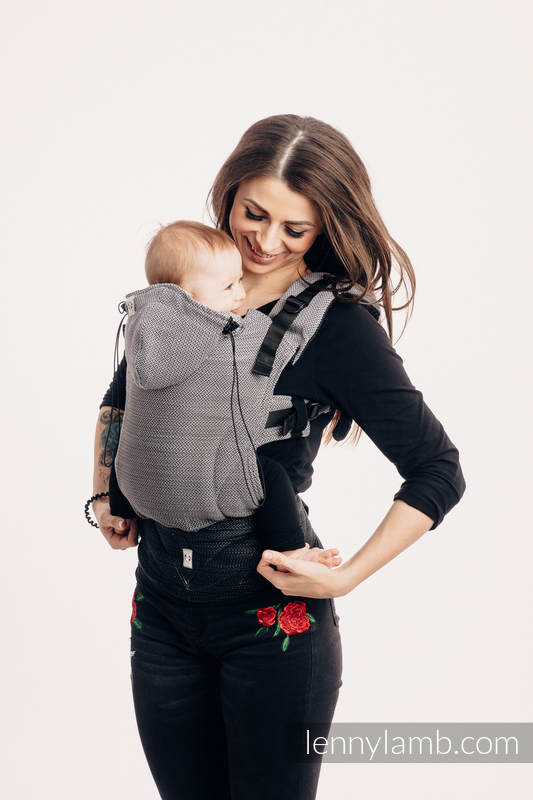 Ergonomic Carrier, Baby Size, herringbone weave 100% cotton - LITTLE HERRINGBONE OMBRE GREY - Second Generation #babywearing