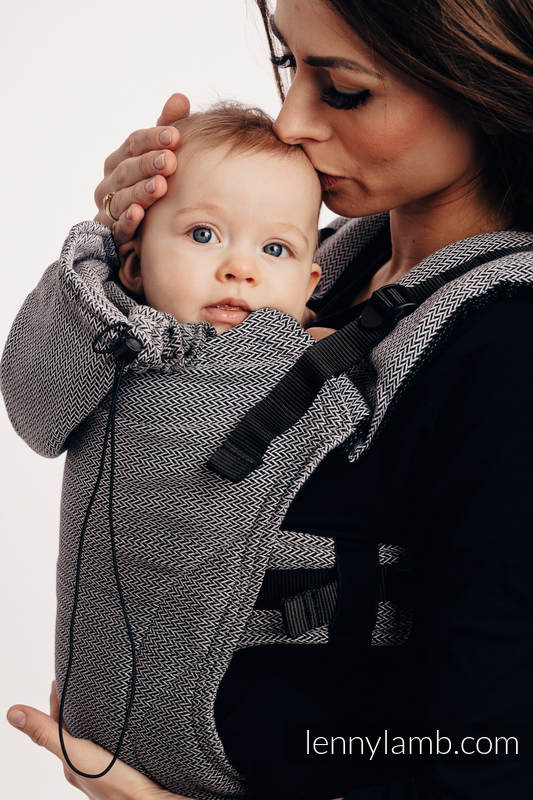 Nosidełko Ergonomiczne , splot jodełkowy, 100% bawełna , Baby Size, MAŁA JODEŁKA OMBRE SZARY - Druga Generacja #babywearing