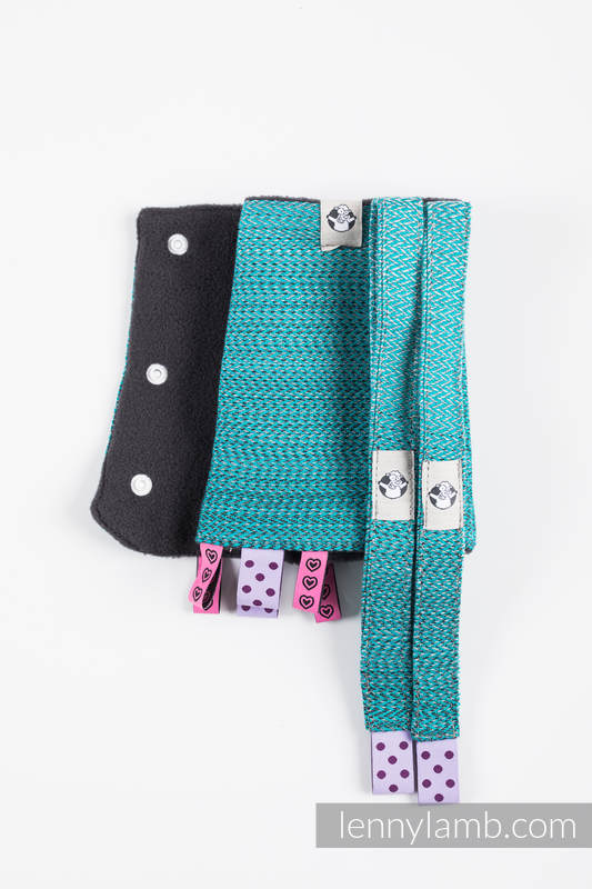 Ensemble protège bretelles et sangles pour capuche (60% coton, 40% polyester) - LITTLE HERRINGBONE OMBRE TEAL  #babywearing