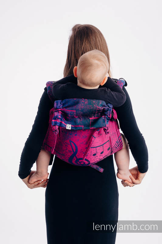 Lenny Buckle Onbuhimo, Toddler size, jacquard weave (43% cotton, 57% Merino wool) - Wrap conversion from SYMPHONY DESIRE #babywearing