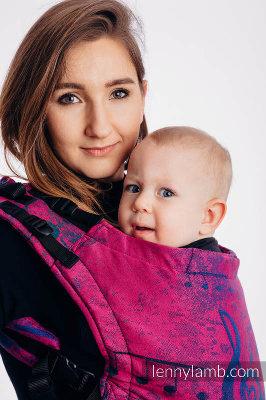 LennyUp Carrier, Standard Size, jacquard weave (43% cotton, 57% Merino wool) - SYMPHONY DESIRE #babywearing