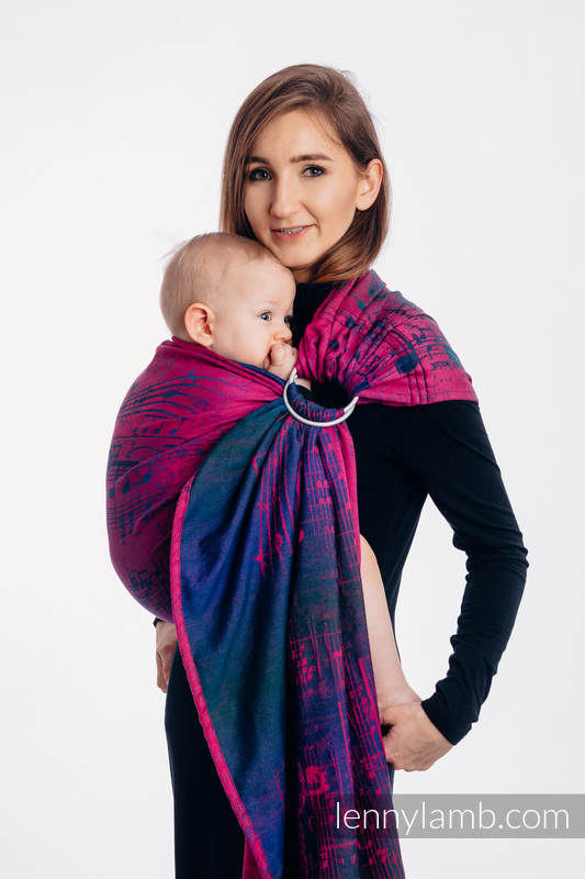 Ringsling, Jacquard Weave (47% cotton, 53% Merino wool), with gathered shoulder - SYMPHONY DESIRE - standard 1.8m #babywearing