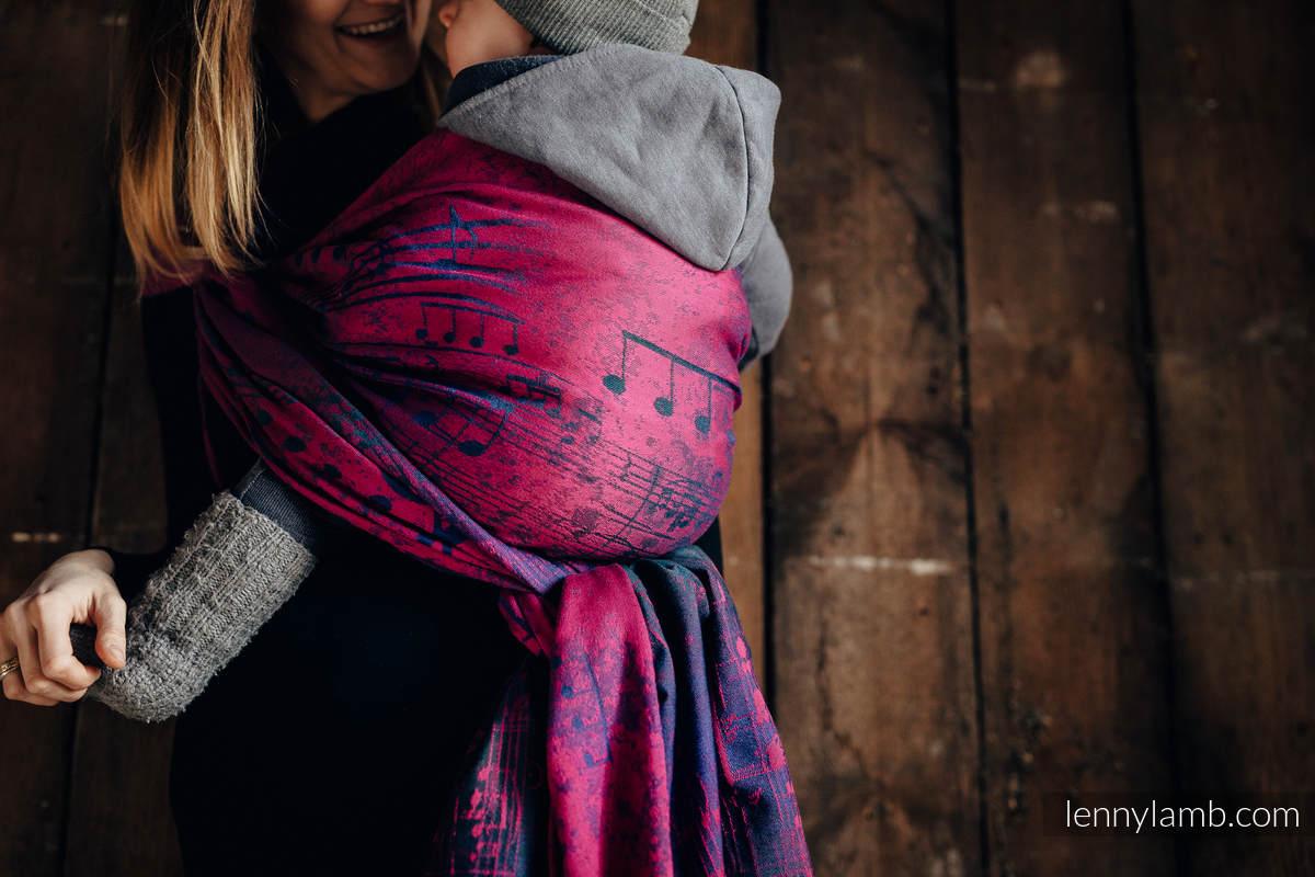 Baby Wrap, Jacquard Weave (43% cotton, 57% Merino wool) - SYMPHONY DESIRE - size L #babywearing