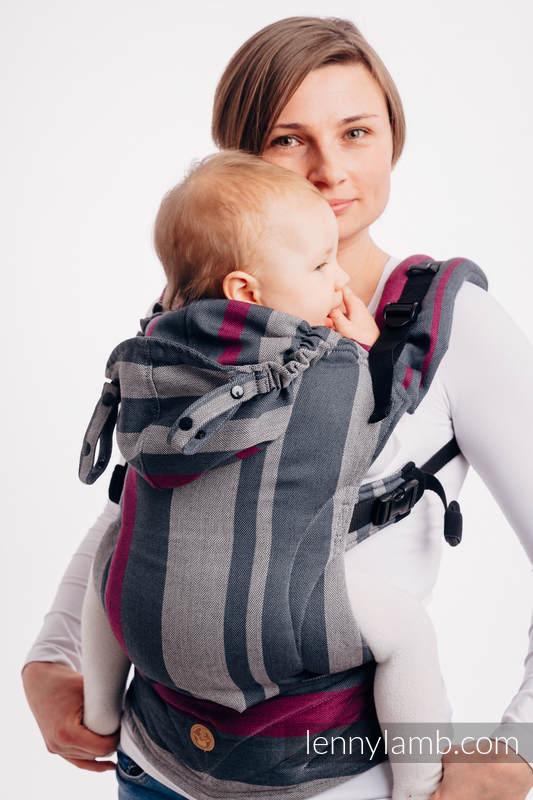 LennyGo Mochila ergonómica, talla toddler, sarga cruzada 100% algodón - SMOKY - FUCHSIA #babywearing