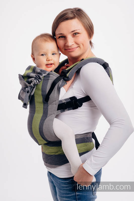 LennyGo Ergonomic Carrier, Baby Size, broken-twill weave 100% cotton - wrap conversion from SMOKY - LIME #babywearing