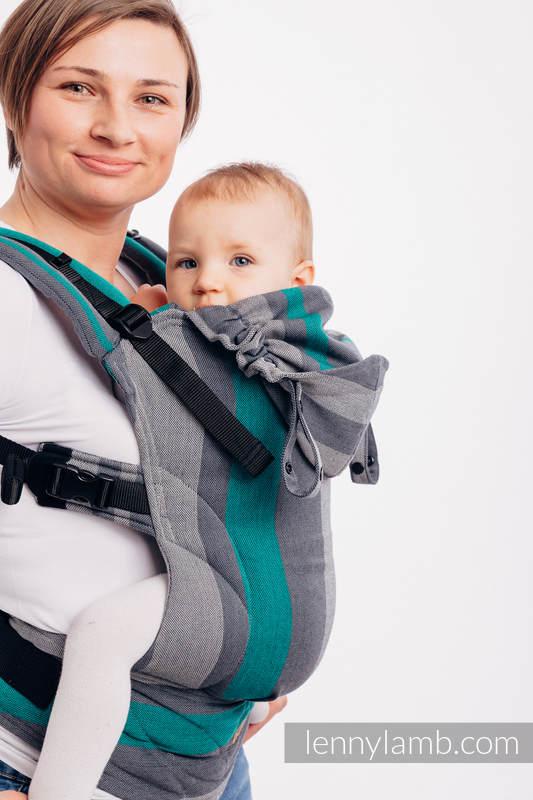 LennyGo Ergonomic Carrier, Baby Size, broken-twill weave 100% cotton - SMOKY - MINT #babywearing