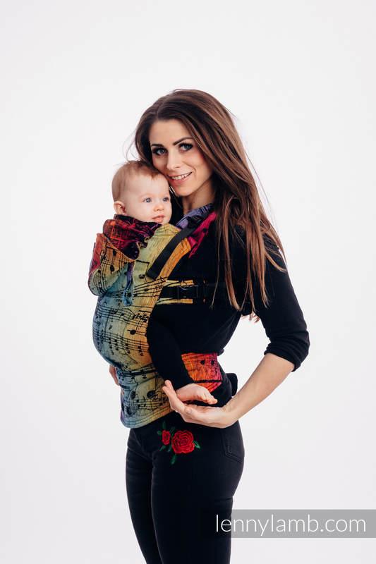 LennyGo Mochila ergonómica, talla bebé, jacquard 100% algodón - SYMPHONY RAINBOW DARK #babywearing