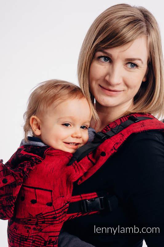 LennyGo Ergonomic Carrier, Baby Size, jacquard weave 100% cotton - SYMPHONY FLAMENCO (grade B) #babywearing