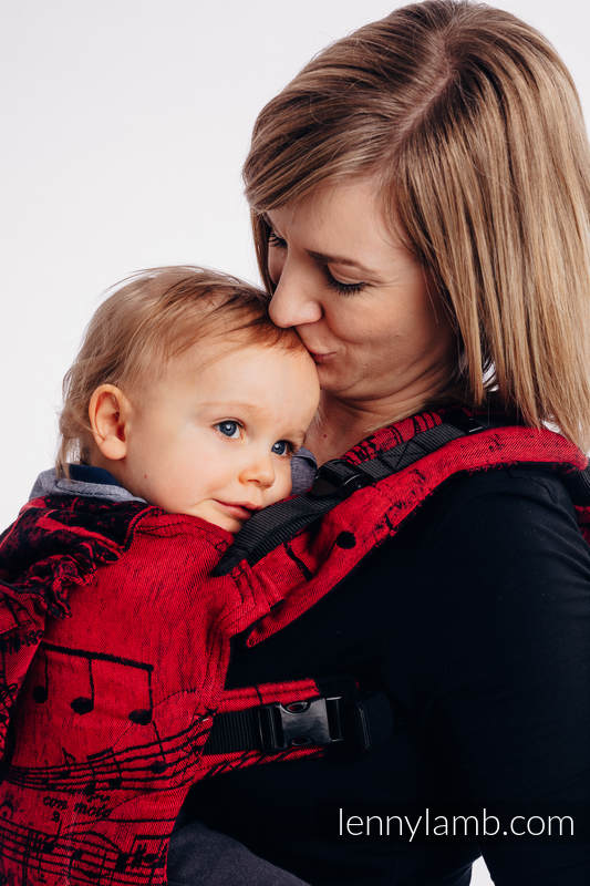 LennyGo Ergonomic Carrier, Baby Size, jacquard weave 100% cotton - SYMPHONY FLAMENCO #babywearing