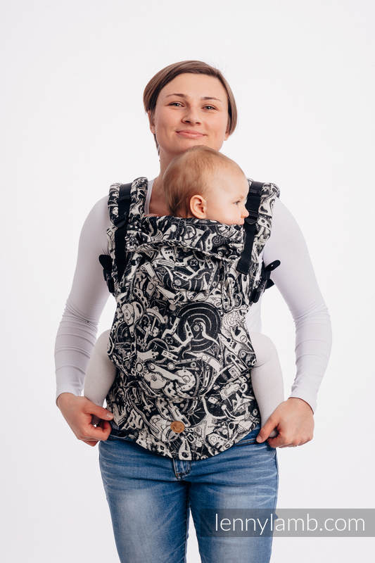 LennyGo Ergonomic Carrier, Baby Size, jacquard weave 100% cotton - CLOCKWORK  #babywearing