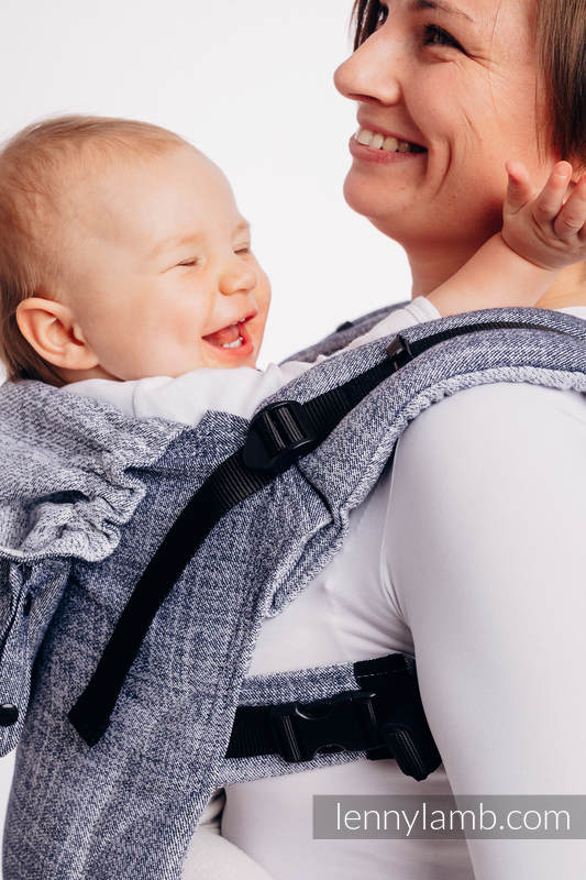 LennyGo Ergonomic Carrier, Baby Size, jacquard weave 100% cotton - DENIM BLUE #babywearing