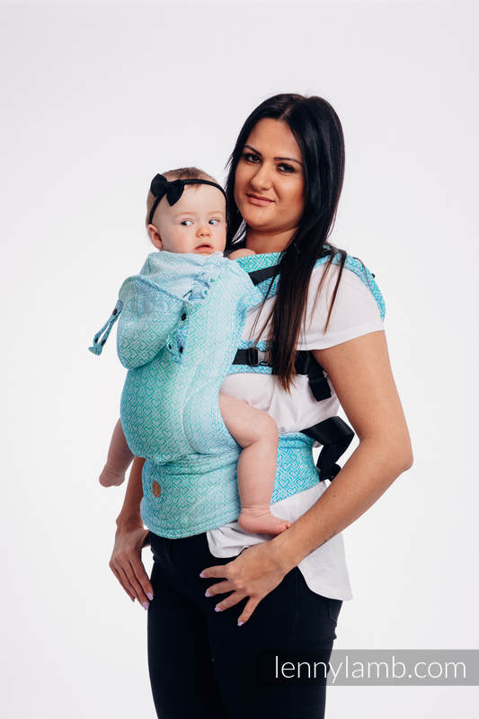 LennyGo Ergonomic Carrier, Baby Size, jacquard weave 100% cotton - wrap conversion from BIG LOVE - MROŻONA MIĘTA #babywearing