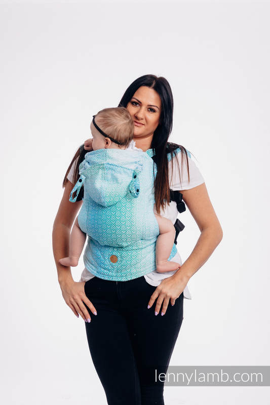 LennyGo Ergonomic Carrier, Baby Size, jacquard weave 100% cotton - wrap conversion from BIG LOVE - ICE MINT #babywearing