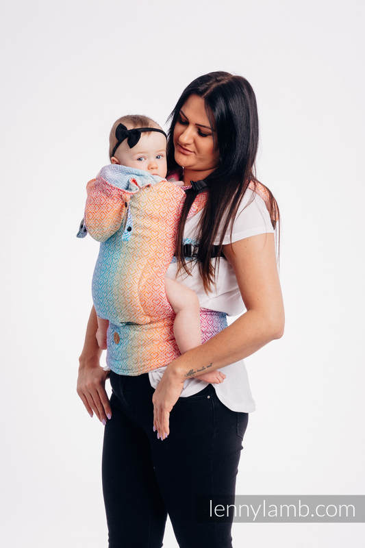 LennyGo Ergonomic Carrier, Baby Size, jacquard weave 100% cotton - BIG LOVE - RAINBOW #babywearing