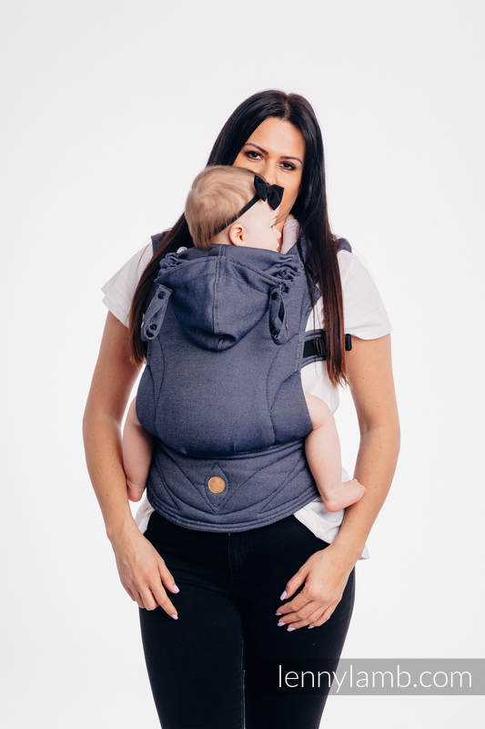 LennyGo Basic Line Ergonomic Carrier,  Baby Size, satin weave 100% cotton - JEANS (grade B) #babywearing