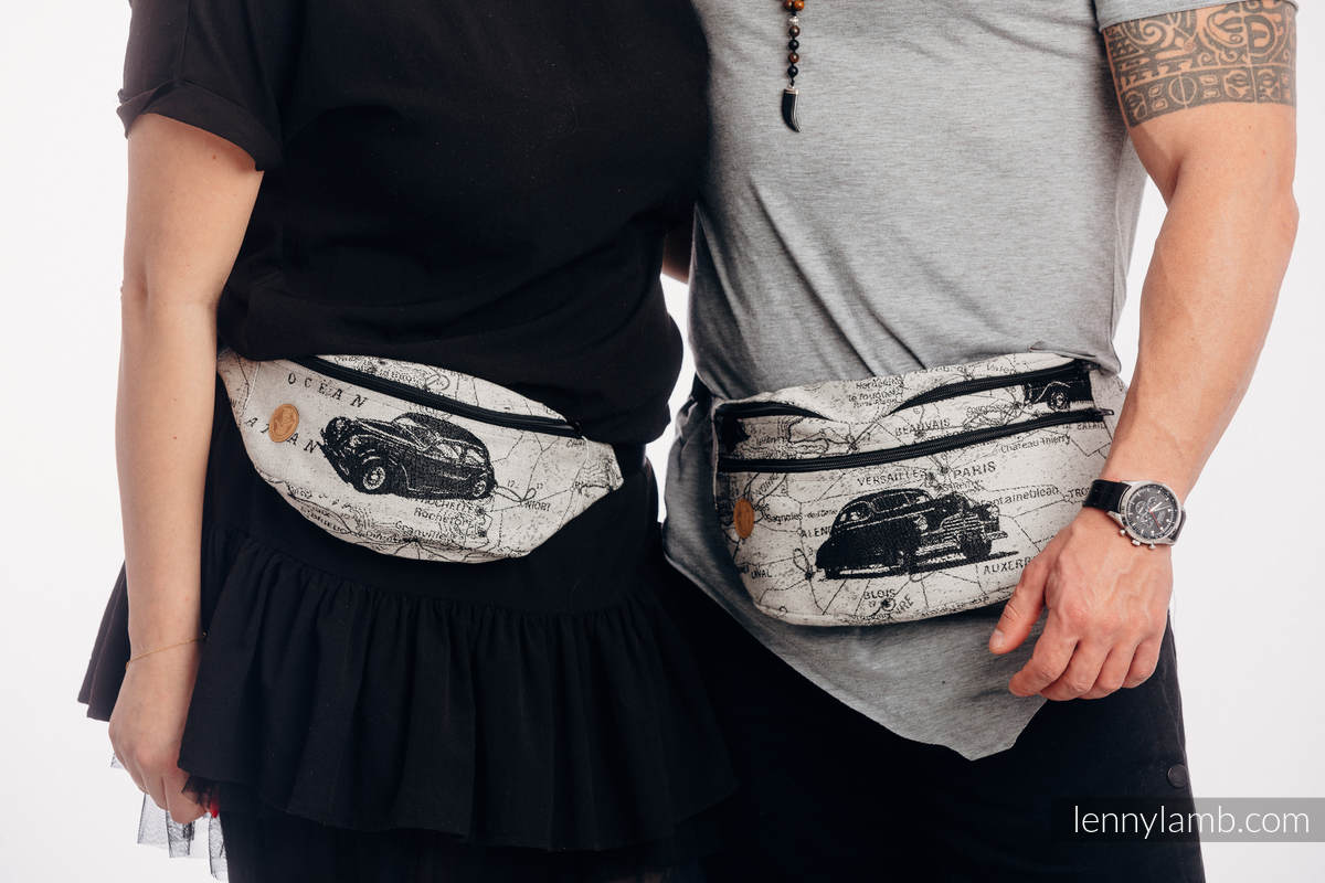 Waist Bag made of woven fabric, size large (100% cotton) - ROAD DREAMS #babywearing