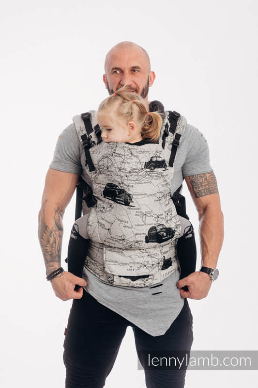 LennyUp Carrier, Standard Size, jacquard weave 100% cotton - ROAD DREAMS #babywearing