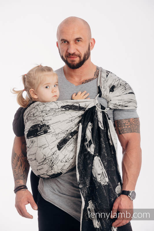 Ringsling, Jacquard Weave (100% cotton) - with gathered shoulder - ROAD DREAMS #babywearing