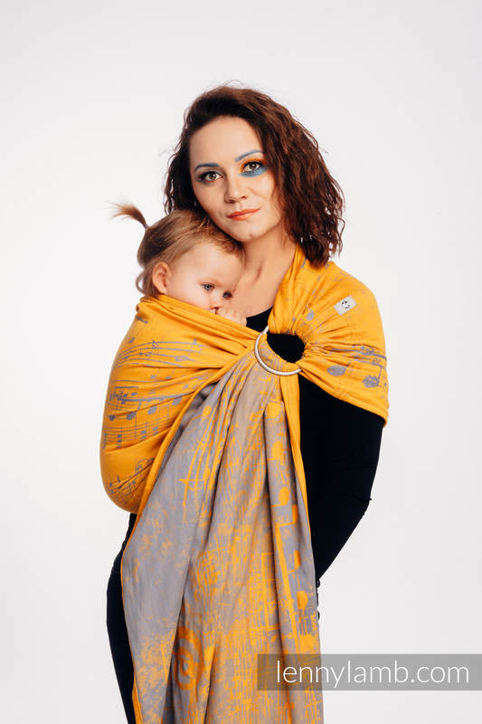 Ringsling, Jacquard Weave (100% cotton) - with gathered shoulder - SYMPHONY  - SUN GIFT  - long 2.1m #babywearing