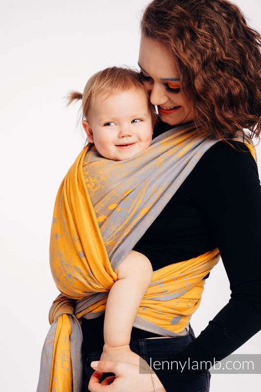 Żakardowa chusta do noszenia dzieci, bawełna - SYMFONIA - SUN GIFT  - rozmiar XS #babywearing