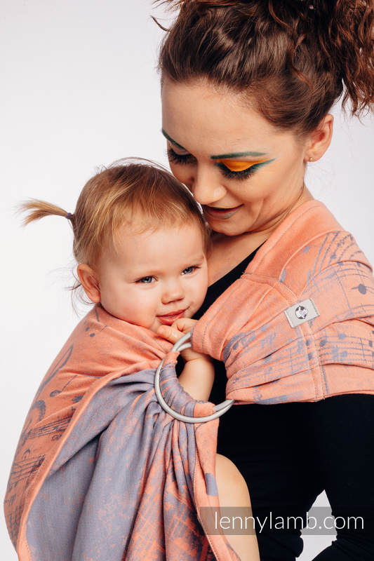 Ringsling, Jacquard Weave (100% cotton) - with gathered shoulder - SYMPHONY  - PARADISE CITRUS  - long 2.1m #babywearing
