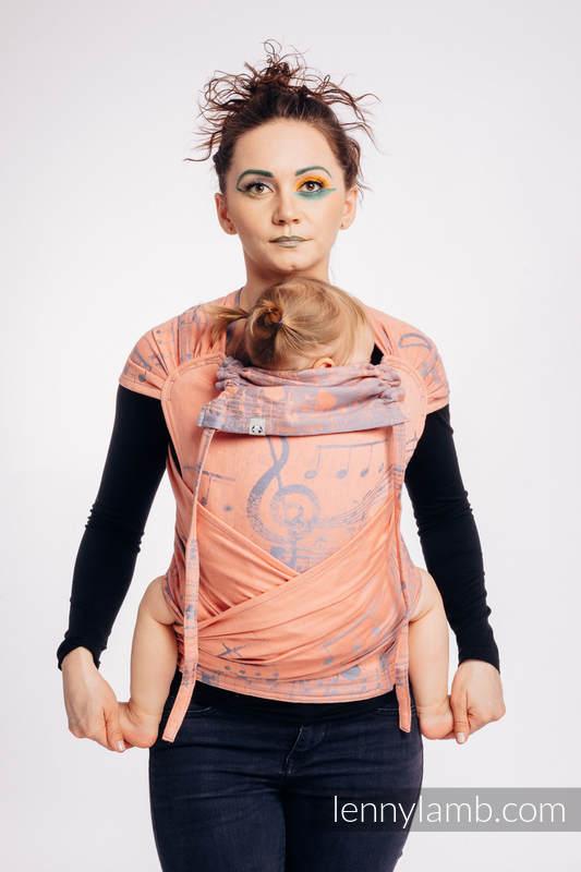 Nosidełko dla dzieci WRAP-TAI MINI, bawełna, splot żakardowy, z kapturkiem - SYMFONIA - PARADISE CITRUS #babywearing