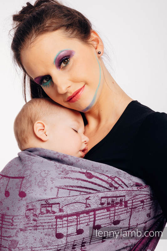 Ringsling, Jacquard Weave (100% cotton) - with gathered shoulder - SYMPHONY  - THE PEAR OF LOVE - long 2.1m #babywearing