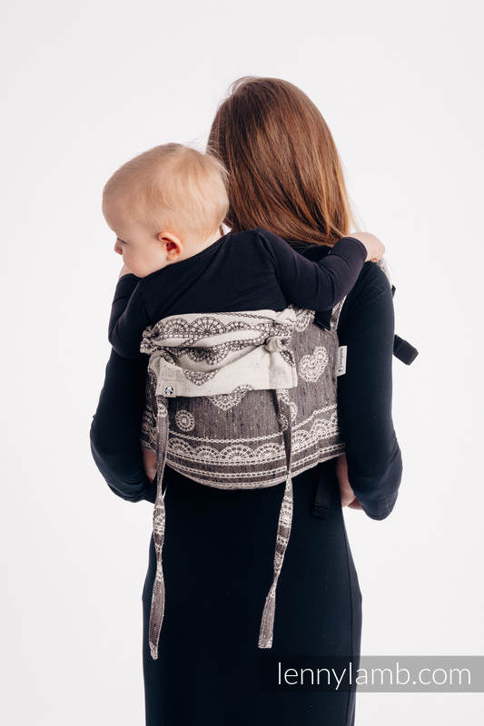 Lenny Buckle Onbuhimo baby carrier, standard size, jacquard weave (74% cotton 26% silk) - SENTIMENT - LACE #babywearing