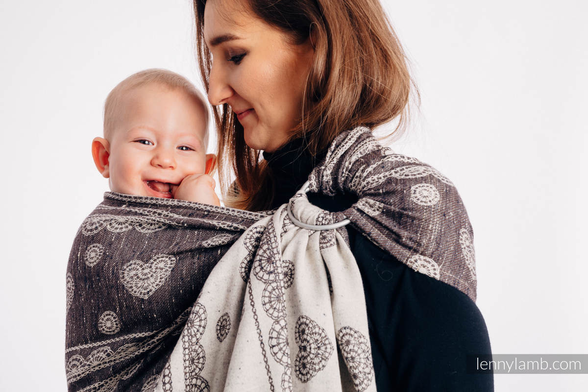 Ringsling, Jacquard Weave, with gathered shoulder (74% cotton 26% silk) - SENTIMENT - LACE - standard 1.8m #babywearing