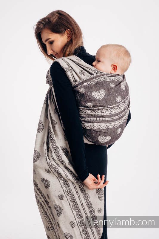 Baby Wrap, Jacquard Weave (74% cotton 26% silk) - SENTIMENT - LACE - size XL #babywearing