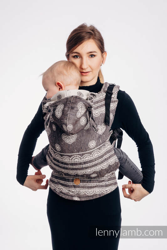 LennyGo Ergonomic Carrier, Baby Size, jacquard weave 74% cotton 26% silk - SENTIMENT - LACE #babywearing