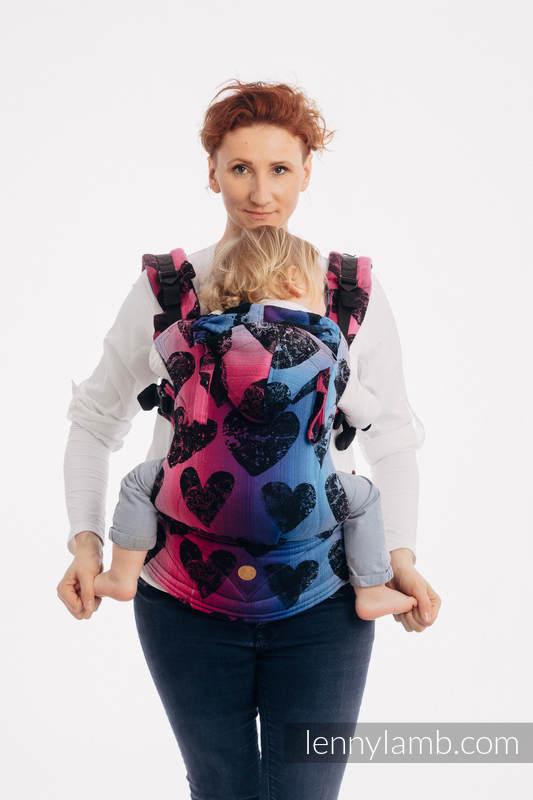 LennyGo Ergonomic Carrier, Baby Size, jacquard weave 100% cotton - LOVKA PINKY VIOLET #babywearing