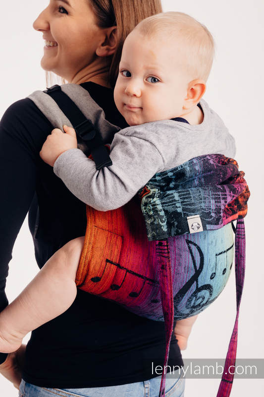 Lenny Buckle Onbuhimo - CHOICE - SYMPHONY RAINBOW DARK - Toddler size, jacquard weave (100% cotton)  #babywearing