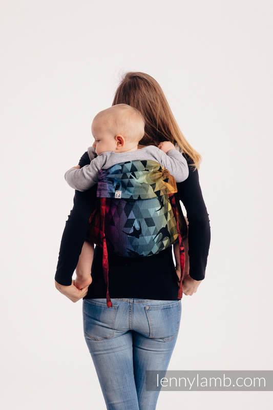 Lenny Buckle Onbuhimo - CHOICE - SWALLOWS RAINBOW DARK  - Standard size, jacquard weave (100% cotton)  #babywearing