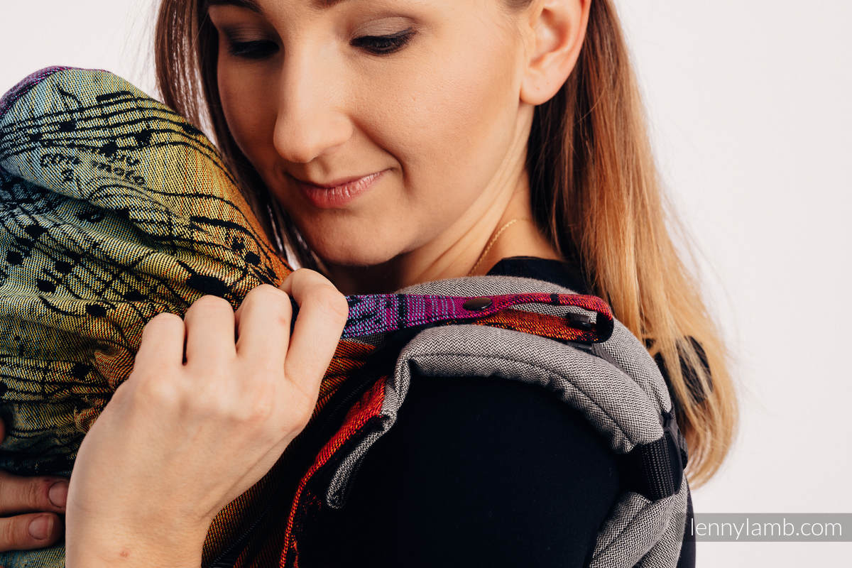 LennyGo Ergonomic Carrier - CHOICE - SYMPHONY RAINBOW DARK, Baby Size, jacquard weave 100% cotton #babywearing