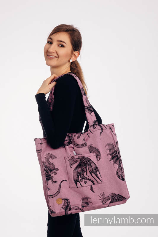 Shoulder bag made of wrap fabric (100% cotton) - DRAGON - DRAGON FRUIT - standard size 37cmx37cm #babywearing