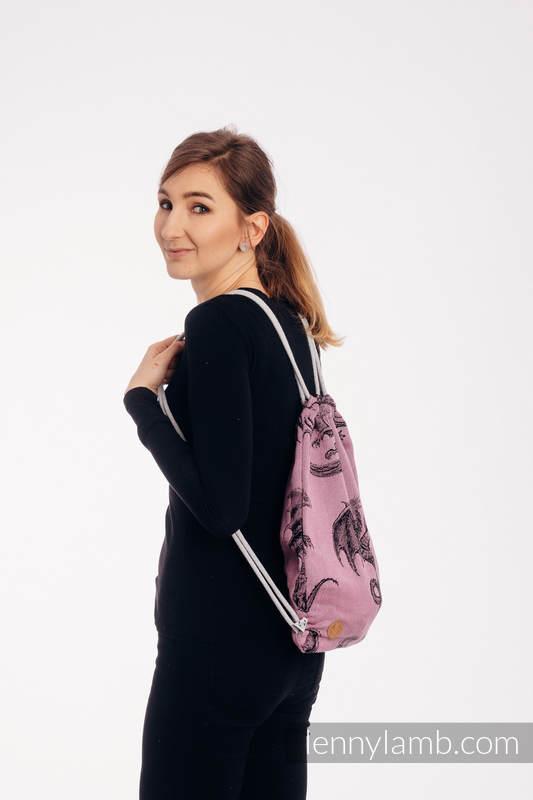 Mochila portaobjetos hecha de tejido de fular (100% algodón) - DRAGON - DRAGON FRUIT - talla estándar 32cmx43cm #babywearing