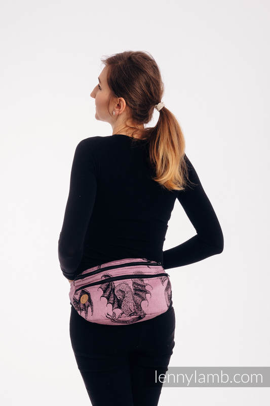 Waist Bag made of woven fabric, size large (100% cotton) - DRAGON - DRAGON FRUIT #babywearing