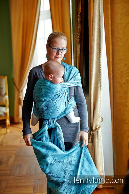 Baby Wrap, Jacquard Weave (100% cotton) - Galleons Navy Blue & Turquoise - size S #babywearing