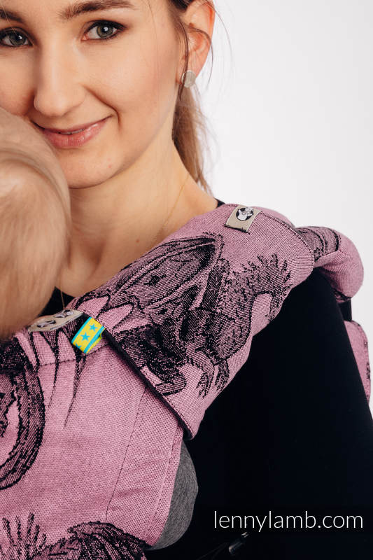 Drool Pads & Reach Straps Set, (60% cotton, 40% polyester) - DRAGON - DRAGON FRUIT #babywearing