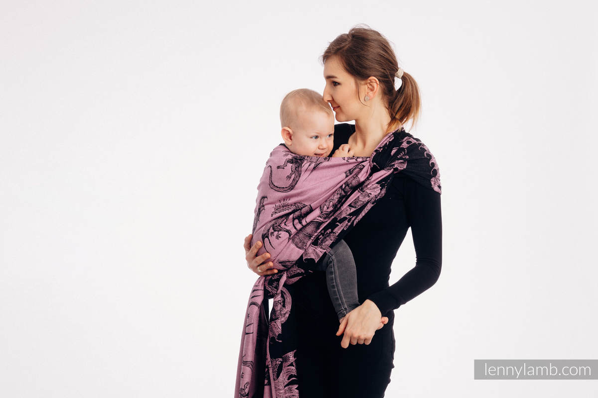 Baby Wrap, Jacquard Weave (100% cotton) - DRAGON - DRAGON FRUIT - size XS #babywearing