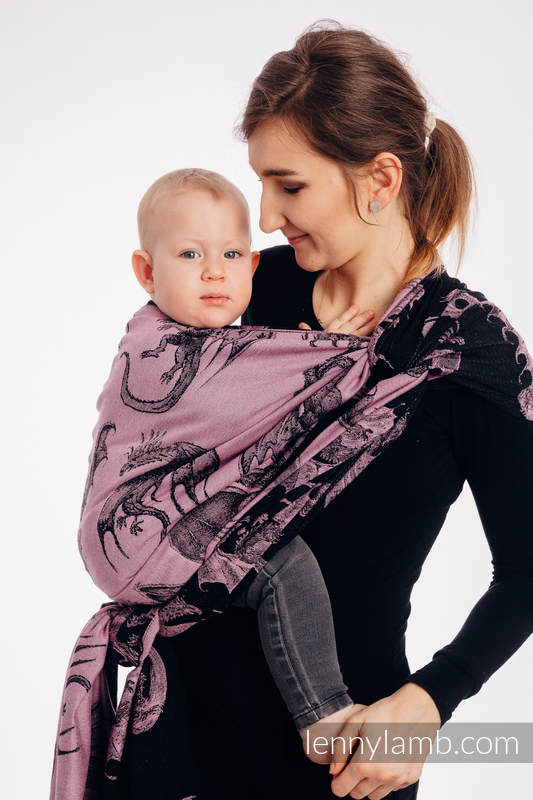 Baby Wrap, Jacquard Weave (100% cotton) - DRAGON - DRAGON FRUIT - size M #babywearing