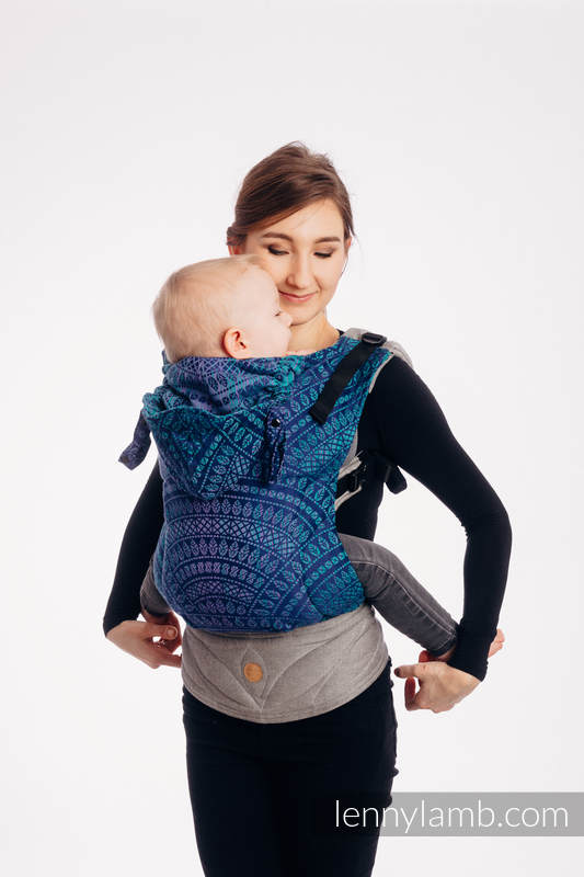 LennyGo Ergonomic Carrier - CHOICE - PEACOCK'S TAIL - PROVANCE, Baby Size, jacquard weave 100% cotton #babywearing