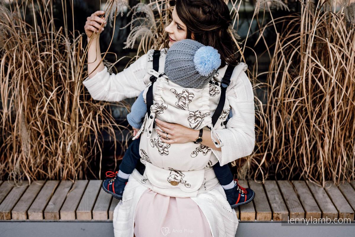 Nosidełko LennyUpGrade z tkaniny żakardowej 100% bawełna , rozmiar standard - KOTEK MARYSI - BRĄZ Z KREMEM #babywearing