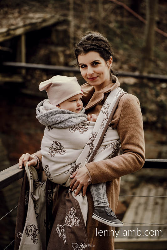Baby Wrap, Jacquard Weave (100% cotton) - MARYSIA'S CAT - BROWN & CREME - size L #babywearing
