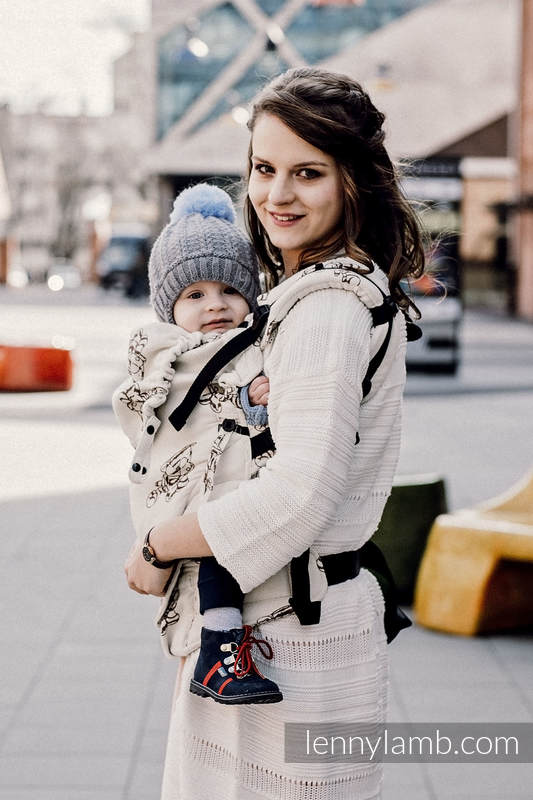 LennyUpGrade Carrier, Standard Size, jacquard weave 100% cotton - MARYSIA'S CAT - BROWN & CREME #babywearing