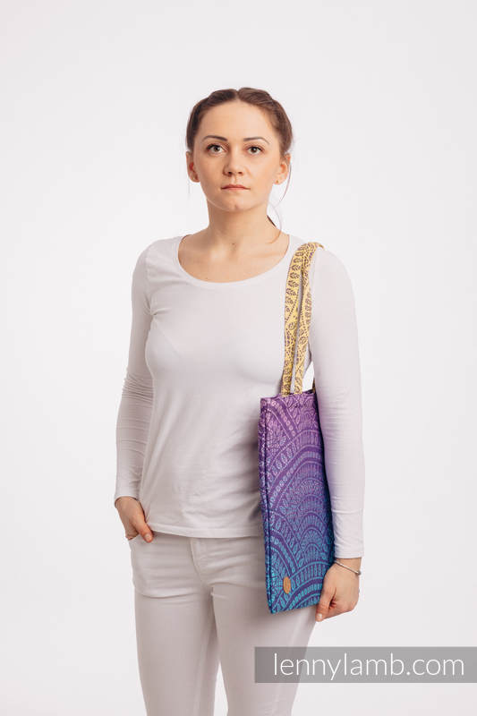 Shopping bag made of wrap fabric (100% cotton) - PEACOCK'S TAIL - CLOSER TO THE SUN #babywearing