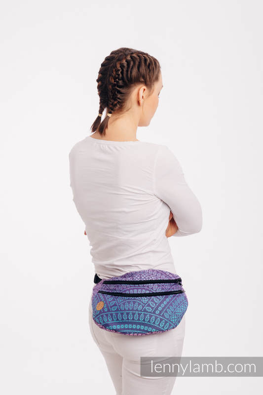 Waist Bag made of woven fabric, size large (100% cotton) - PEACOCK'S TAIL - CLOSER TO THE SUN #babywearing